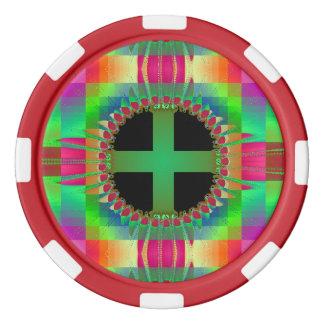 "Lehm-Poker-Chips - ""Medizin-Rad-"" roter Streifen Poker Chip Set"