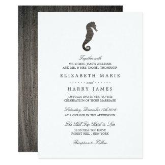 Lehm-Seepferd-Strand-Hochzeit 12,7 X 17,8 Cm Einladungskarte