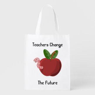 Lehrer ändern die zukünftige wiederverwendbare wiederverwendbare einkaufstasche