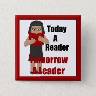 Lehrer-Buch-Liebhaber-Gallonen-Leser-Führer-Knopf Quadratischer Button 5,1 Cm