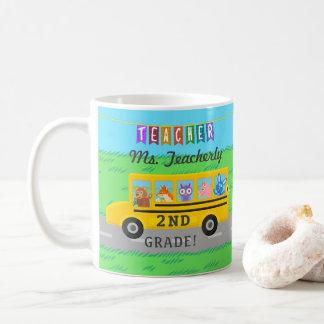 Lehrer danken Ihnen niedliche Bus-Tiere des Name-  Kaffeetasse