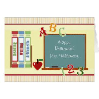 Lehrer-glückliche Ruhestands-Tafel-Karte Grußkarte