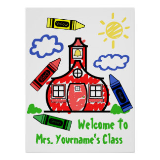 Lehrer-Klassenzimmer-Plakat - Schulhaus u. Zeichen Poster