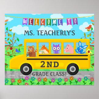 Lehrer-Klassenzimmer-willkommenes Zeichen-süße Poster
