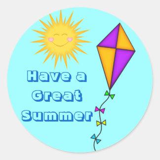 Lehrer-/Mamma-Aufkleber-Sommer Sun und Drachen Runder Aufkleber
