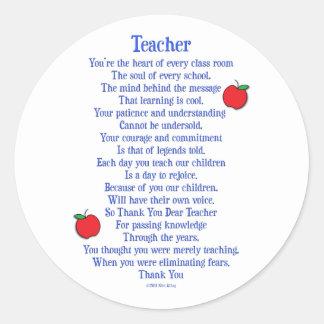 Lehrer Runder Aufkleber