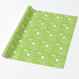 Lehrer-Stolz-Wort-Wolke+Apple/Limones Grün Geschenkpapier