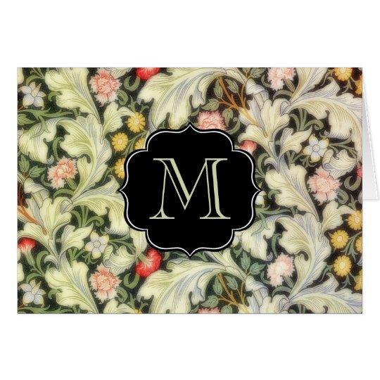 Leicester-Vintages mit Blumenmit Monogramm Karte