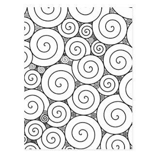 Leichte geometrische schwarze u. weiße Spiralen Postkarten