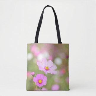 Leichte rosa Blume ganz über gedruckt Tasche