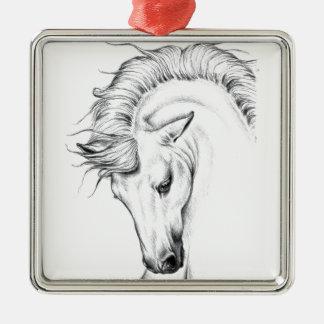 Leichter Stallion Quadratisches Silberfarbenes Ornament