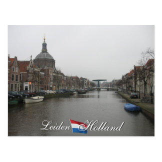 Leiden-Kanal und Postkarte