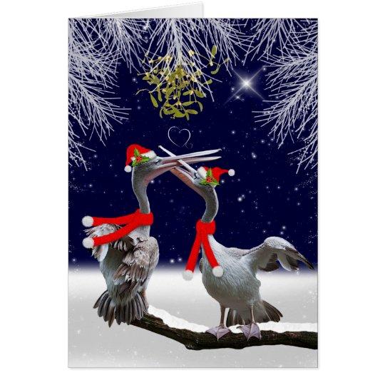 Leidenschaftliche Pelikan-Weihnachtskarte Grußkarte