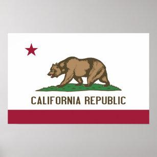 Leinwand-Druck mit Flagge von Kalifornien, USA Poster