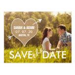 Leinwand-Herz | rustikal Save the Date Postkarten