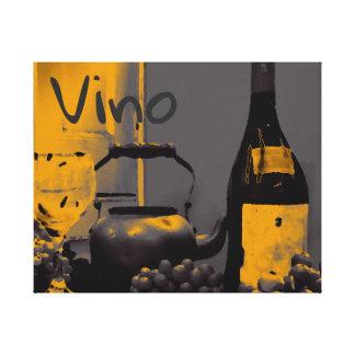 Leinwand-Kunstvino-Weintraube-Stahlgrau-Gelb Leinwanddruck