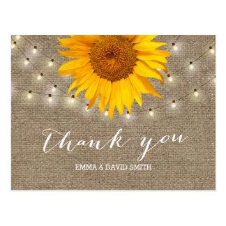 Leinwand-Sonnenblume-u. Schnur-Lichter danken Postkarte