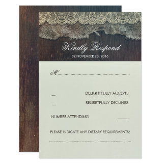 Leinwand-Spitze und hölzernes rustikales Hochzeit Karte