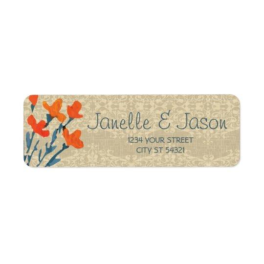 Leinwand und orange Blumen, Adressen-Etiketten