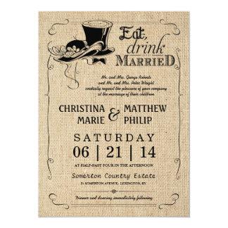Leinwand-Vintage Spitzenhut-Hochzeits-Einladungen 14 X 19,5 Cm Einladungskarte
