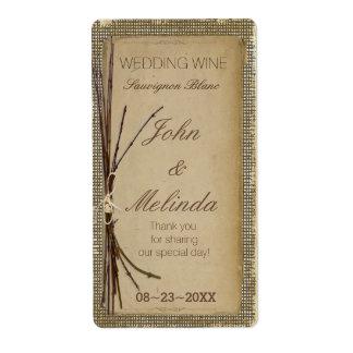 Leinwand, Zweige und Schnur-Hochzeits-Wein ID132 Versandetikett