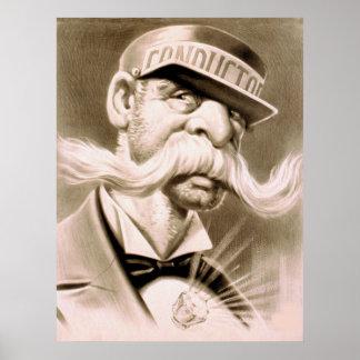 Leiter-enormer Schnurrbart-Retro Vintages Plakat