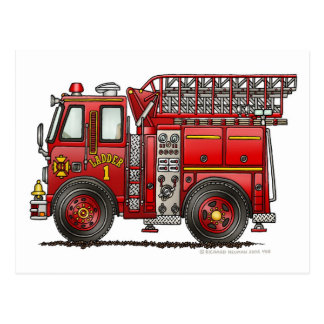 Leiter-Löschfahrzeug-Feuerwehrmann Postkarten