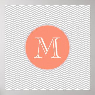 L'élégante géométrie de chevrón et monograma poster