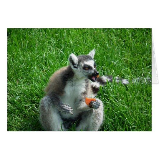 Lemur-Mittagessen Grußkarte