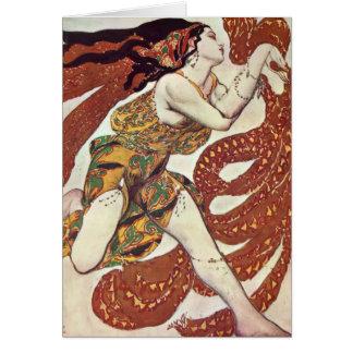 Leon Bakst-Kostüm Entwurf für einen Bacchante Grußkarte