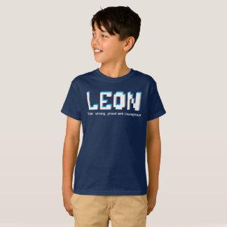 Leon-Jungen Name und Bedeutungspixeltext T-Shirt