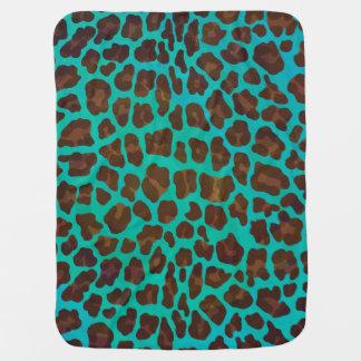 Leopard Brown und aquamariner Druck Babydecke