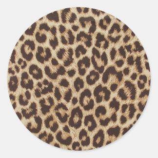Leopard-Druck-klassischer runder Aufkleber