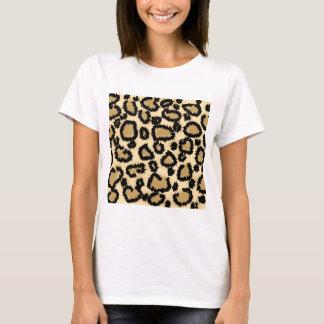 Leopard-Druck-Muster, Brown und Schwarzes T-Shirt