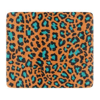 Leopard-Druck orange, schwarz, Aqua