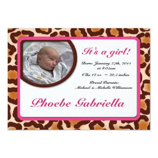 Leopard-Druck-Rosa-Geburts-Mitteilungen 12,7 X 17,8 Cm Einladungskarte