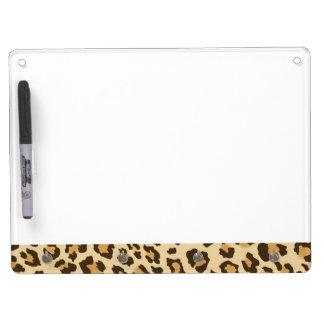 Leopard-Druck-trockenes Löschen-Brett Trockenlöschtafel Mit Schlüsselanhängern