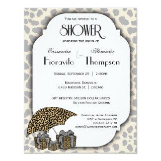 Leopard-Druck-und Silber-Akzent-Dusche laden ein 10,8 X 14 Cm Einladungskarte