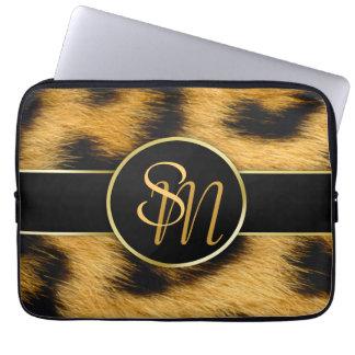 Leopard-Druck-wertvolle Goldinitialen-Laptop-Hülse Laptopschutzhülle