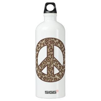 Leopard-Friedenssymbol Aluminiumwasserflasche