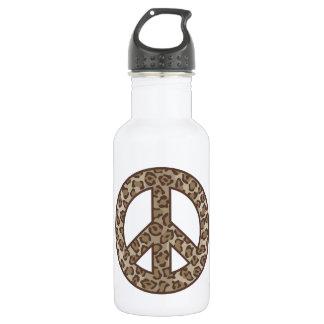 Leopard-Friedenssymbol Edelstahlflasche
