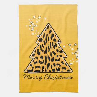 Leopard-Gepard Weihnachtsbaum-Tuch Handtuch
