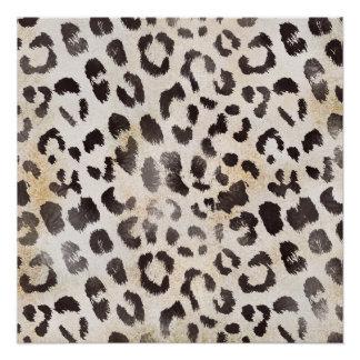 Leopard-Haut im Mandarine-Elfenbein Poster