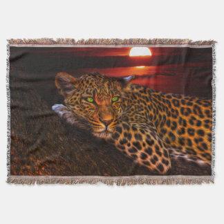Leopard in der Mondschein-Wurfs-Decke Decke