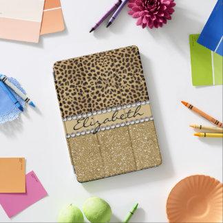 Leopard-Kassagold-Glitterrhinestone-Diamant iPad Pro Hülle