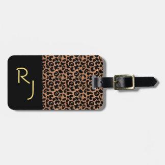 Leopard-Muster-Gewohnheit mit Monogramm Kofferanhänger