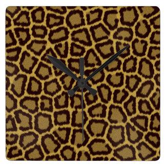 Leopard-quadratische Uhr
