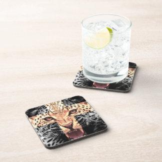 Leopard-QuerHipster Getränke Untersetzer
