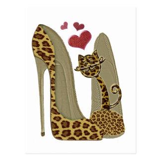 Leopard-Stilett-Schuh-und Katzen-Kunst Postkarte