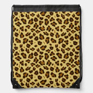 Leopard-Tierdruck-Musterdrawstring-Tasche Turnbeutel